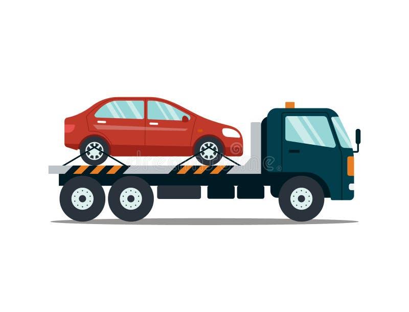撤出打破的或损坏的汽车的汽车隔绝在白色背景 对停车场的抽空装置运载的汽车 维修服务 向量例证