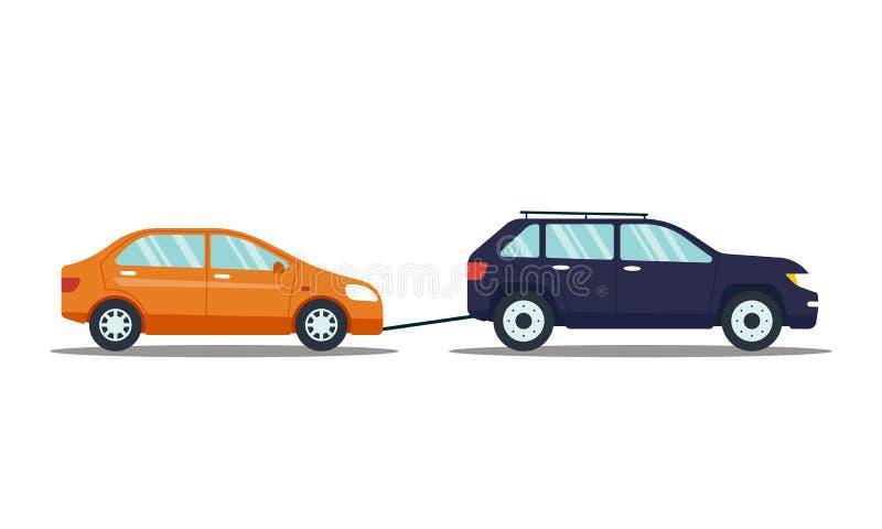 撤出打破的或损坏的汽车的汽车隔绝在白色背景 对停车场的汽车运载的汽车 维修服务 皇族释放例证