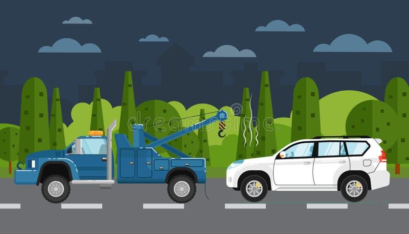 撤出打破的汽车的拖车 向量例证
