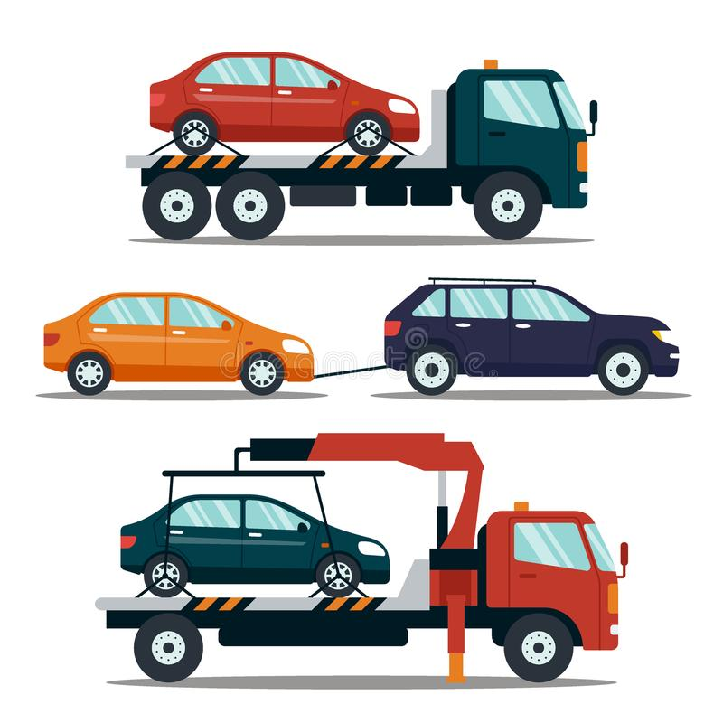 撤出的打破的套汽车在白色背景的或损坏的汽车 对停车场的抽空装置运载的汽车 皇族释放例证
