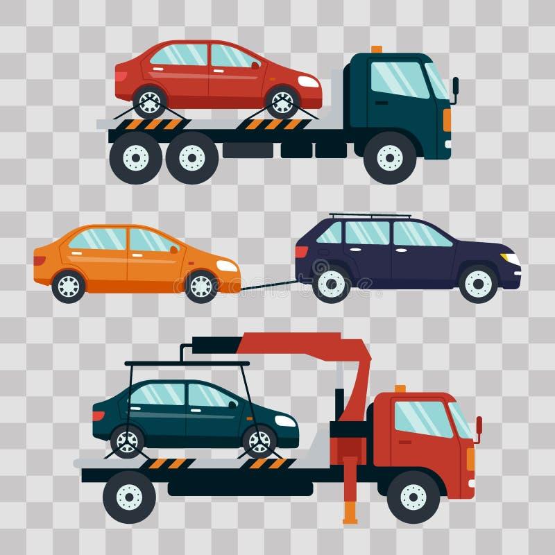 撤出的打破的套汽车在透明背景的或损坏的汽车 对停车场的抽空装置运载的汽车 向量例证