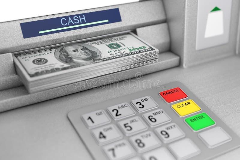 撤出美元钞票的ATM机器 3d翻译 向量例证
