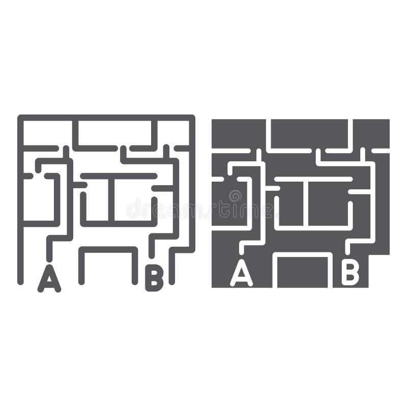 撤离计划线和纵的沟纹象,撤出和紧急状态,防火梯计划标志,向量图形,一个线性样式  库存例证