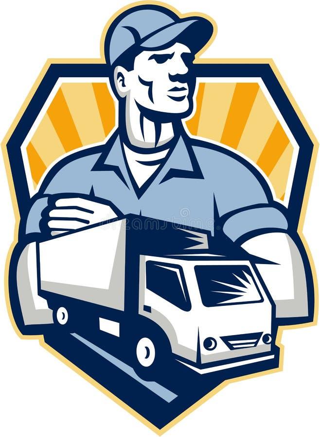 撤除人减速火箭送货卡车的冠 向量例证