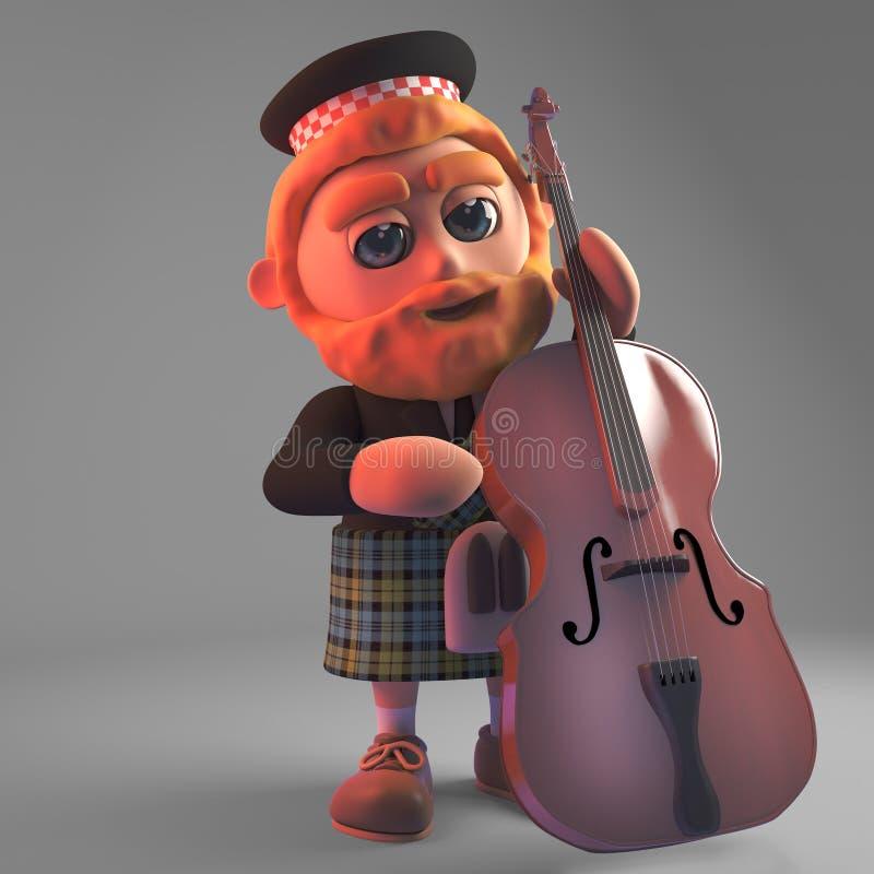 播放低音提琴,3d的苏格兰男用短裙的音乐苏格兰人例证 库存例证