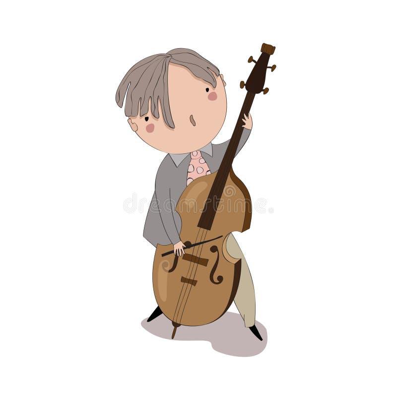播放低音提琴的男孩 皇族释放例证