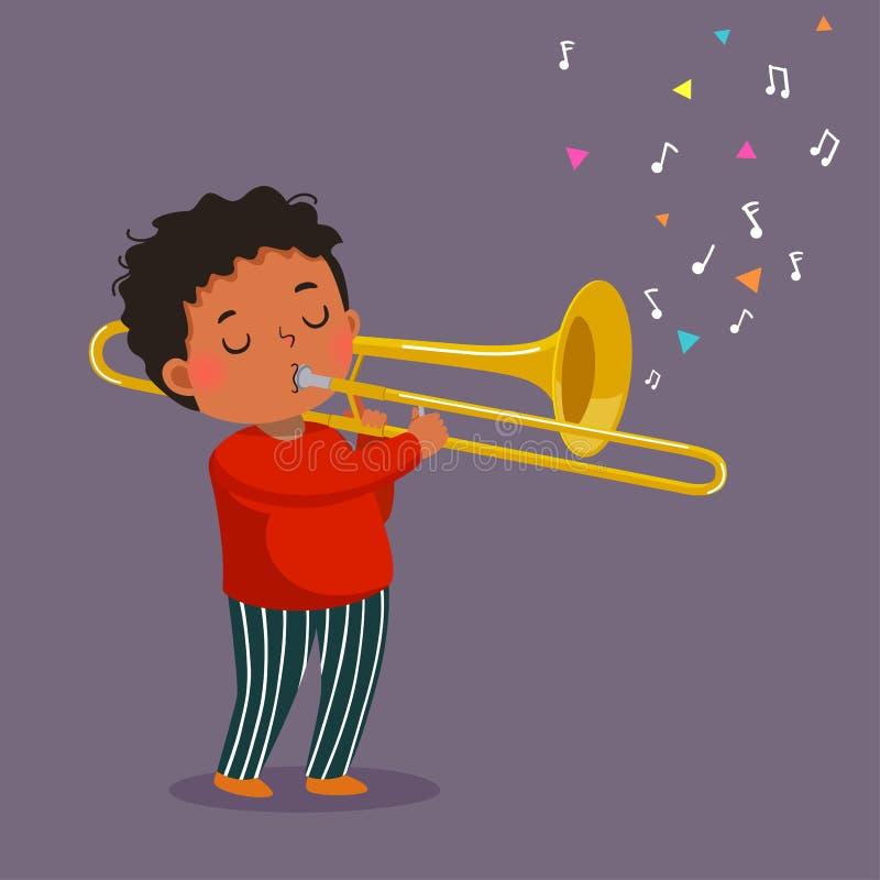 播放在紫色背景的逗人喜爱的男孩伸缩喇叭 皇族释放例证