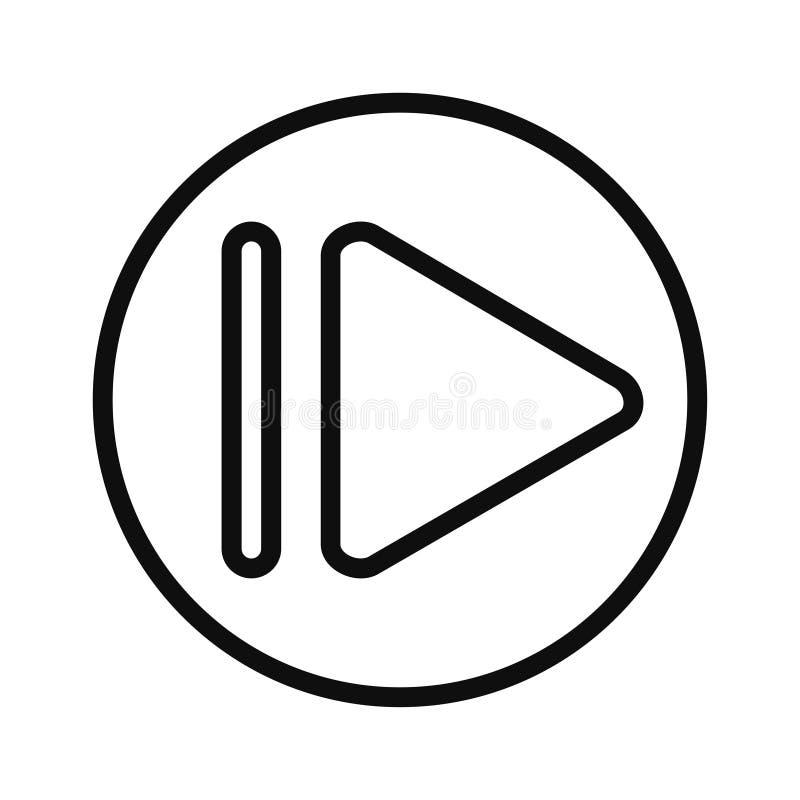 播放按钮大纲图标 移动概念和Web设计的线性样式符号 视频播放简单线矢量图标 皇族释放例证