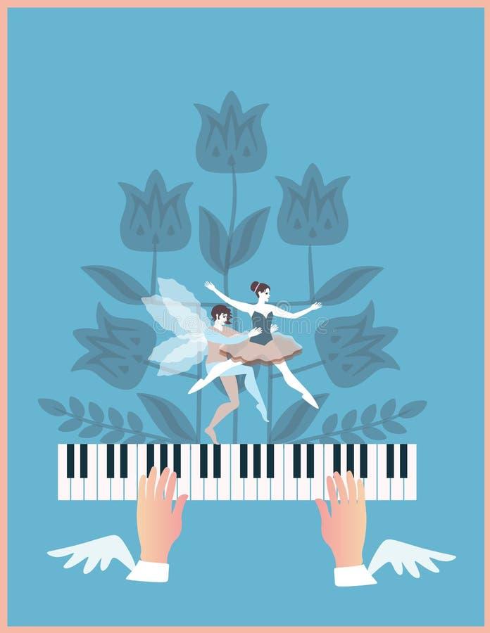 播放钢琴钥匙的飞过的手 神奇花和矮子跳舞的夫妇在蓝色背景的 库存例证