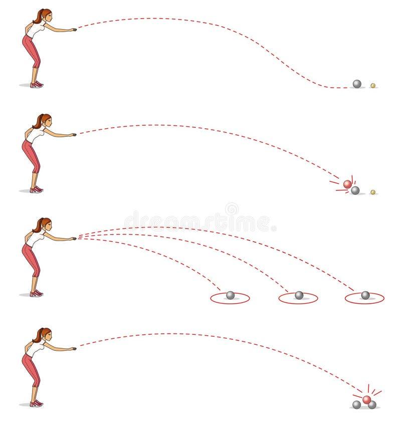 播放petanque 女孩投掷的球 运动的主要类型 背景查出的白色 库存例证