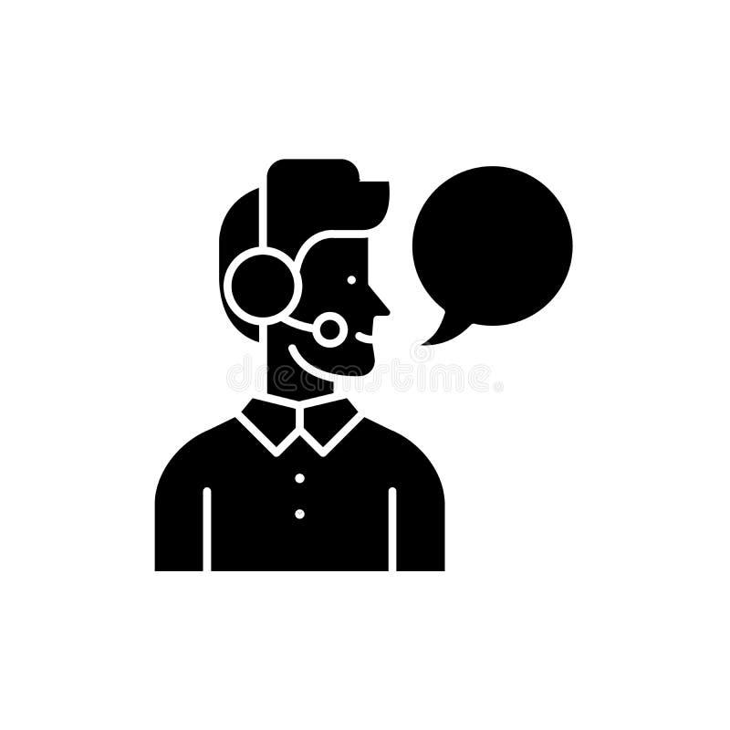 操作员黑色象,在被隔绝的背景的传染媒介标志 操作员概念标志,例证 皇族释放例证
