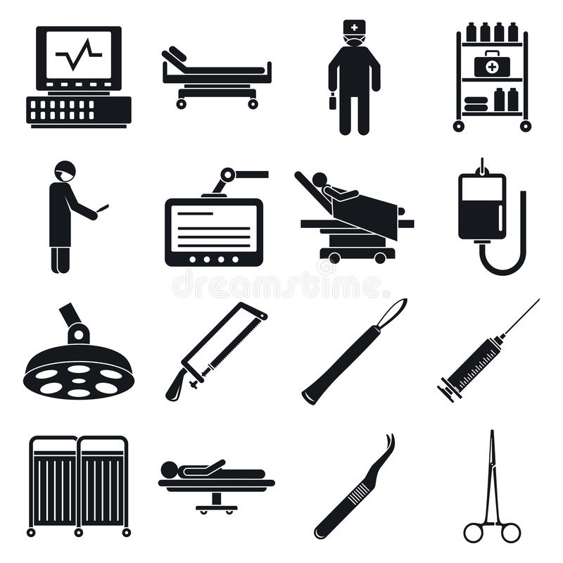 操作工具象集合,简单的样式的外科医生 库存例证