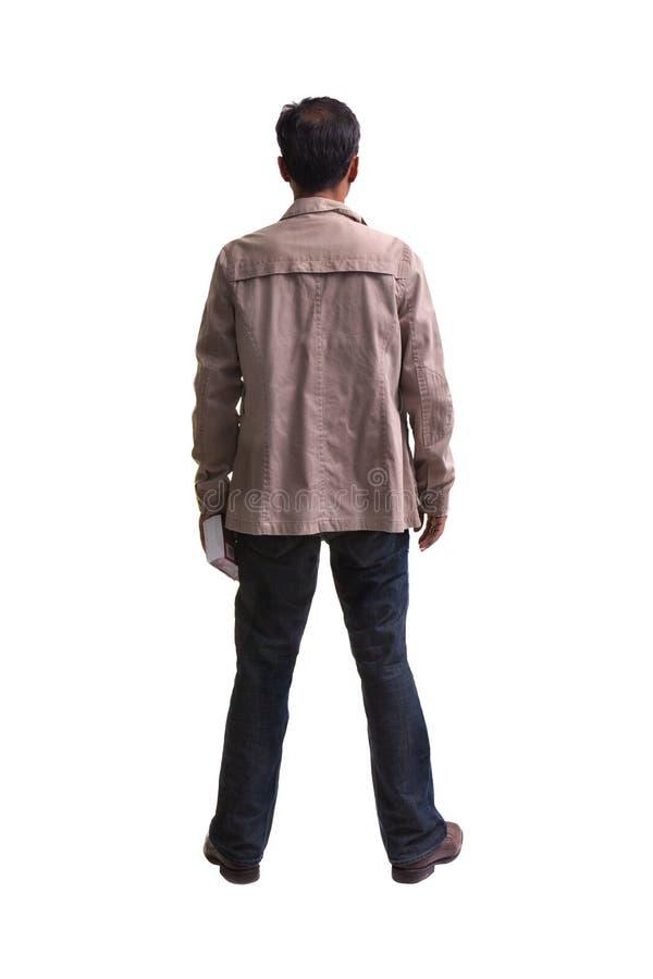 操作的背包徒步旅行者在空白背景 库存照片