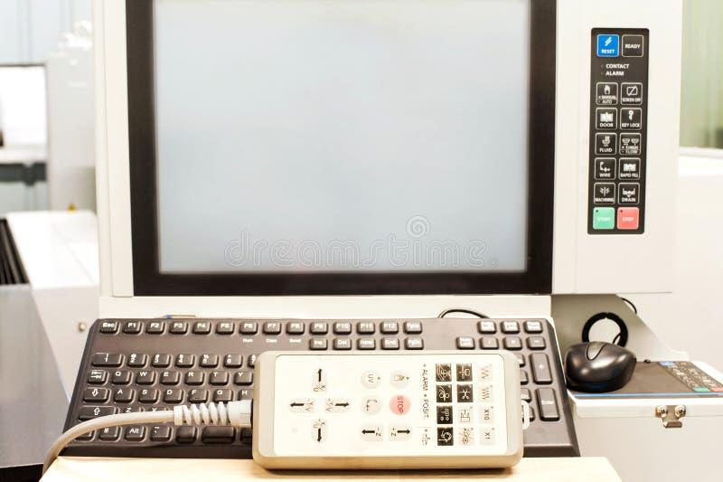 操作pult键盘和显示在indust控制板  免版税图库摄影