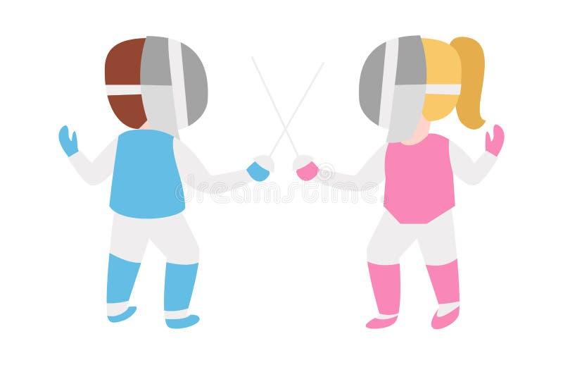 操刀刺竞争活动孩子的儿童锐剑在有面具和武器剑术攻击的桃红色和蓝色制服 皇族释放例证