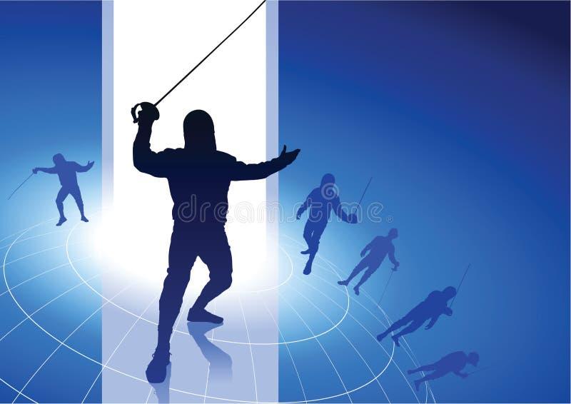 操刀在导线地球背景的体育 库存例证
