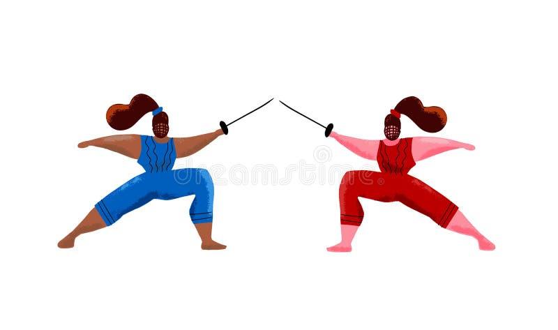 操刀妇女面具训练决斗,swordswoman健身房活动手拉的动画片例证 做双刃剑的黑白女孩 向量例证