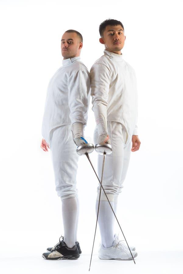 操刀运动员或球员被隔绝在白色背景 库存图片