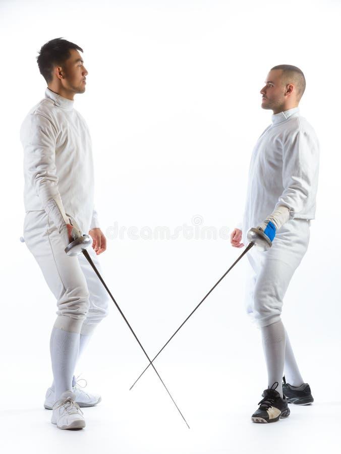 操刀运动员或球员被隔绝在白色背景 图库摄影