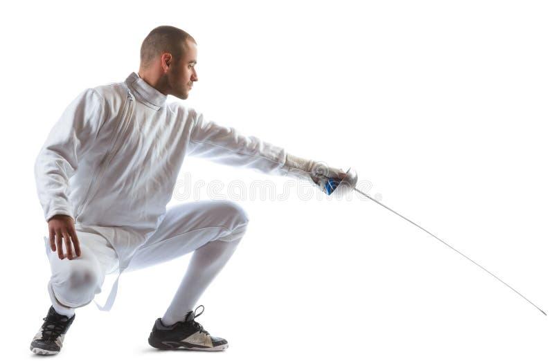 操刀运动员赢取在白色背景中隔绝的竞争 免版税图库摄影