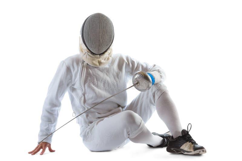 操刀运动员赢取在白色背景中隔绝的竞争 免版税库存照片