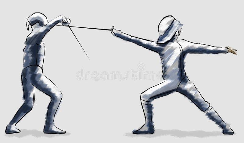 操刀,击剑者种族,作战遭遇 库存例证