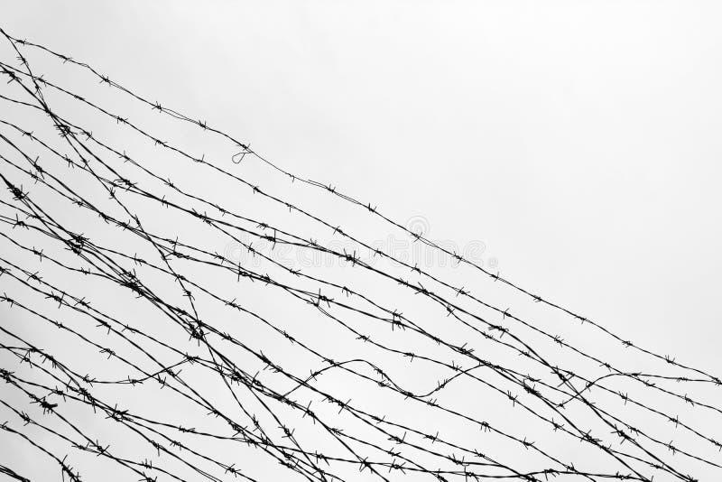 操刀 有刺的范围电汇 让 监狱 刺 封锁 一个囚犯 浩劫集中营 囚犯 压抑backgr 免版税库存照片