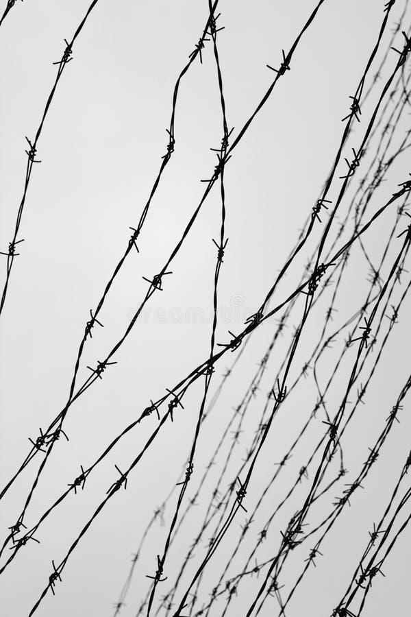 操刀 有刺的范围电汇 让 监狱 刺 封锁 一个囚犯 浩劫集中营 囚犯 图库摄影