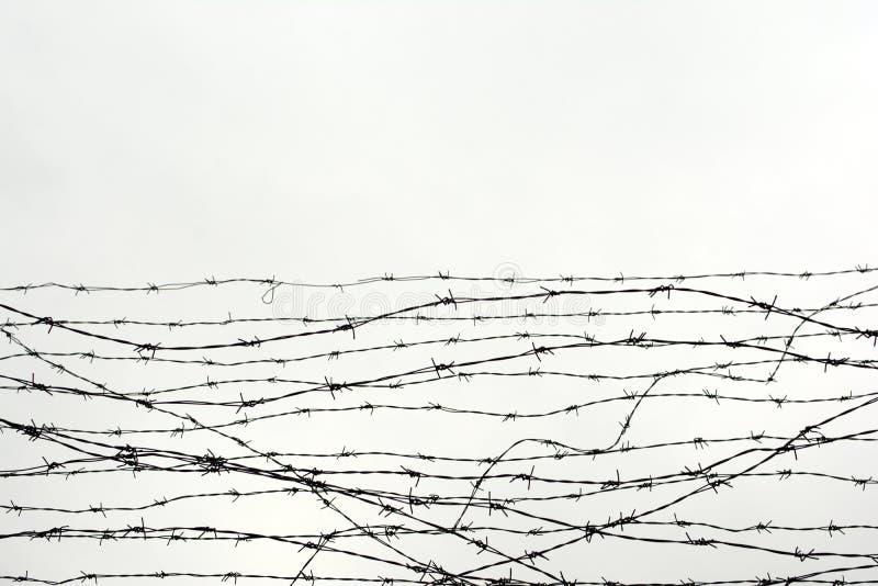 操刀 有刺的范围电汇 让 监狱 刺 封锁 一个囚犯 浩劫集中营 囚犯 免版税库存照片