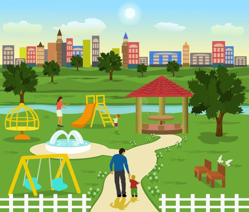 操场有小河和树 放松的家庭 有一大厦和天空蔚蓝在背景中 向量例证