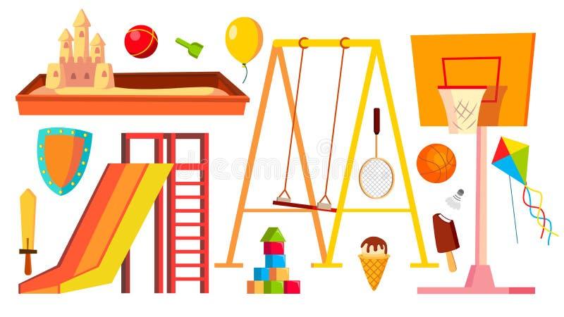 操场设备集合传染媒介 孩子,孩子玩耍区域 幼儿园沙盒,摇摆,幻灯片 被隔绝的动画片 皇族释放例证