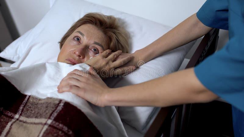 擦不适的患者的泪花护士在病床、支持和同情概念 免版税图库摄影