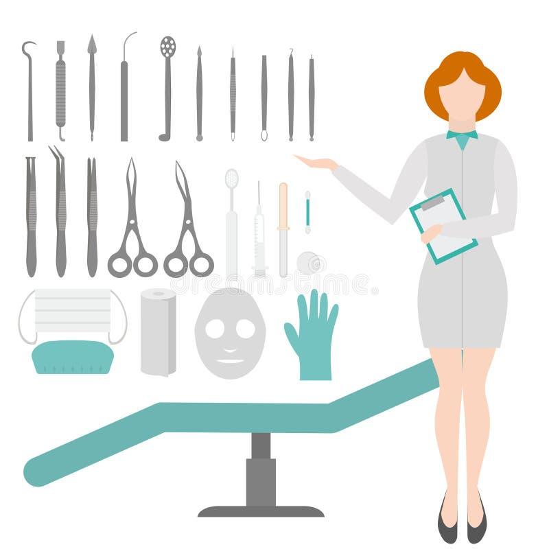擦亮沙龙的秀丽nailfile钉子 皮肤病学家工具 设备圈、提取器和注射器 皮肤学和整容术概念 库存例证