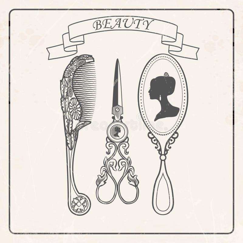 擦亮沙龙的秀丽nailfile钉子 镜子,梳子,剪刀 也corel凹道例证向量 皇族释放例证