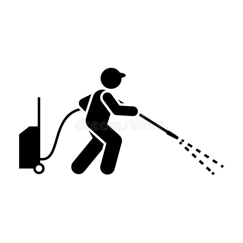 擦净剂,喷气机,工具,人象 r r r 向量例证