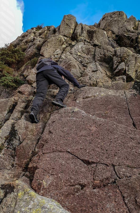 攀岩在湖区 免版税图库摄影
