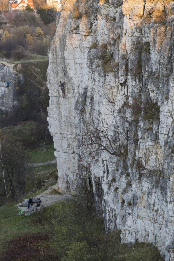 攀岩在Zakrzowek 库存照片
