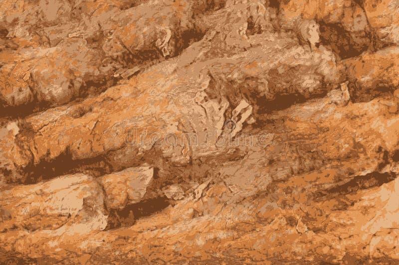 攀岩墙壁的被铭刻的纹理在沙漠 皇族释放例证