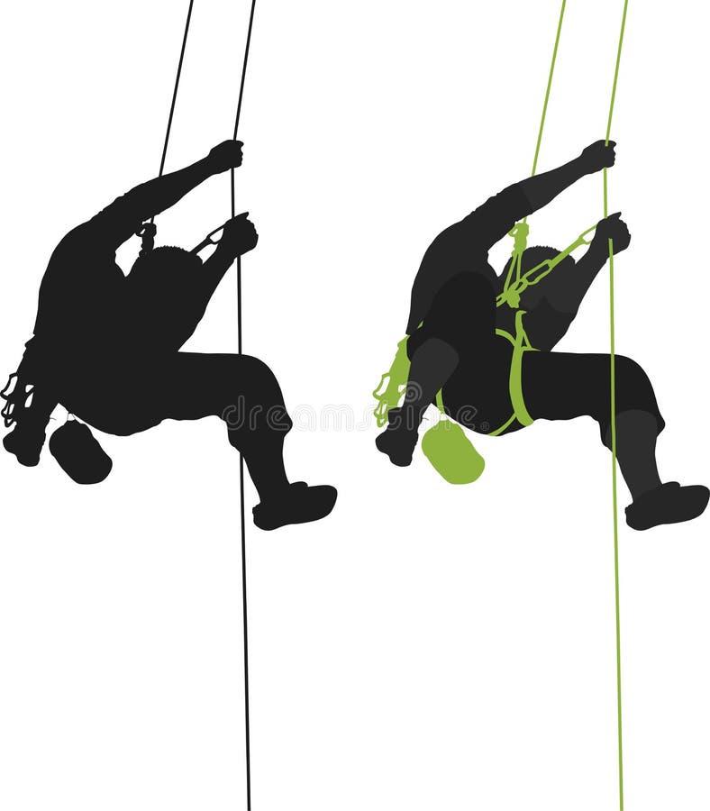 攀岩运动员停止的剪影。 向量例证