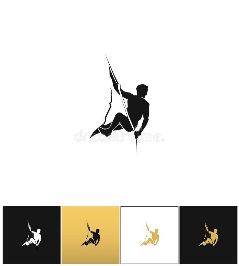 攀岩运动员商标或登山冒险剪影传染媒介象 皇族释放例证