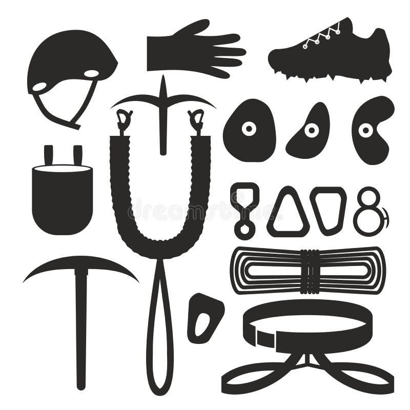 攀岩运动员的平的黑白剪影设计元素 设置与辅助部件和设备 远足者仪器 皇族释放例证