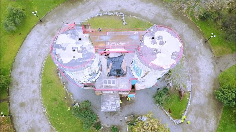 攀岩结构鸟瞰图在圣地亚哥,智利 免版税图库摄影