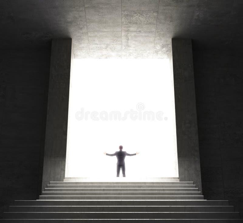 攀登台阶的商人的背面图 3d例证 库存例证