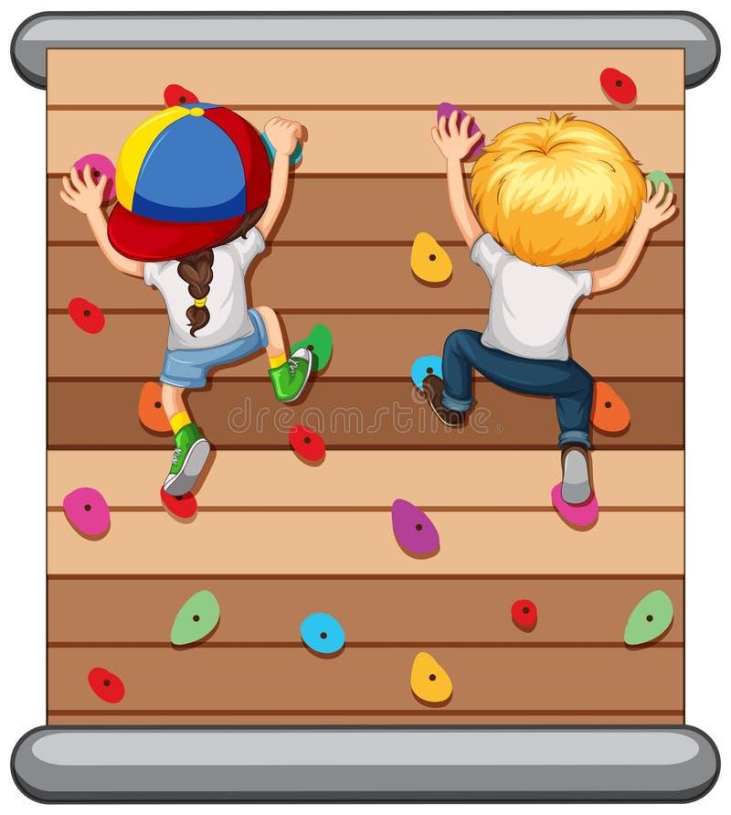 攀登墙壁的孩子 向量例证