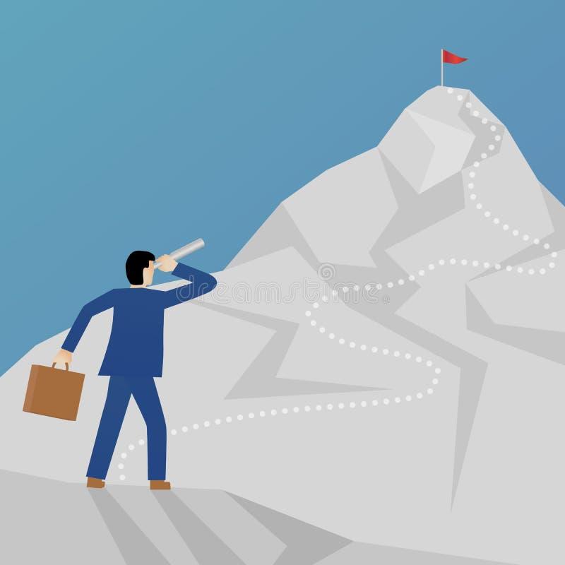 攀登山和看与双眼的商人的美好的平的设计企业传染媒介隐喻一个峰顶 向量例证
