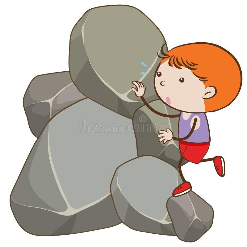 攀登岩石的男孩 向量例证