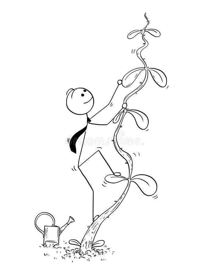 攀登成功的商人动画片高豆茎厂 向量例证