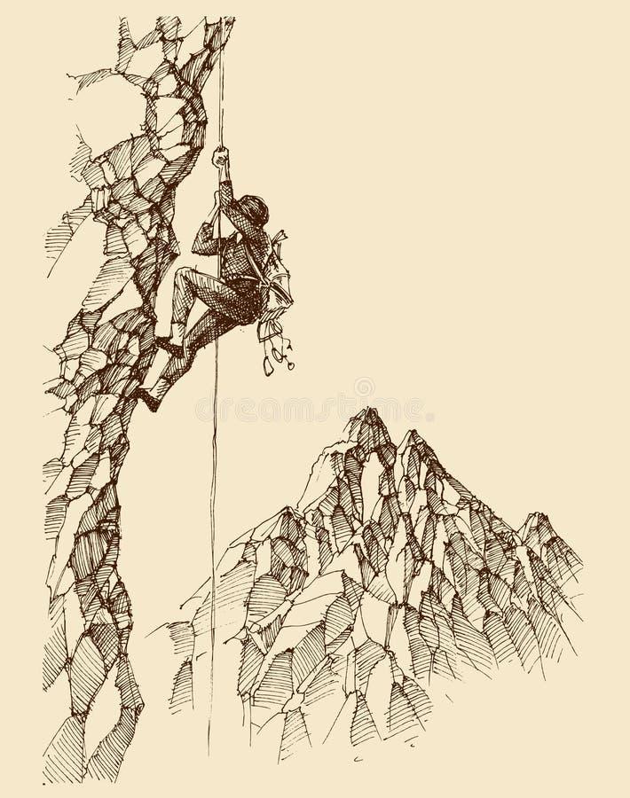 攀登落矶山脉的人 向量例证