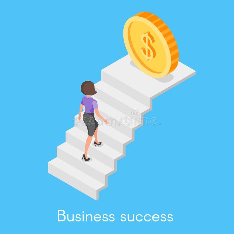 攀登事业l的女商人的等量传染媒介概念 向量例证