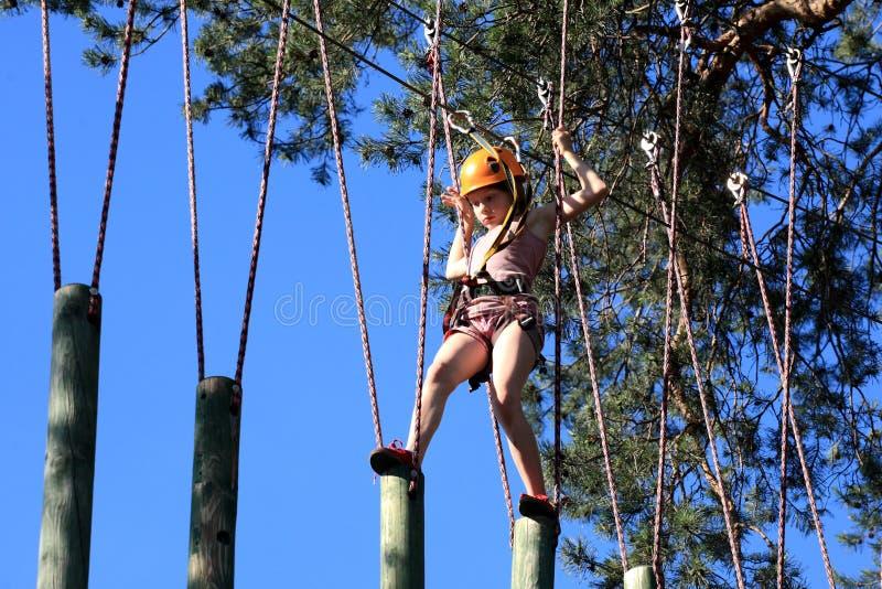 攀登绳索公园,女孩的Eenager上升在冒险公园 免版税库存照片